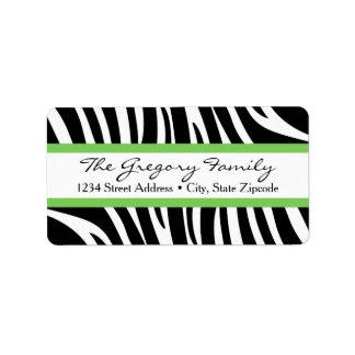 Return Address Labels │ Zebra Print Lime Green