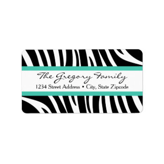 Return Address Labels │ Zebra Print Mint Green