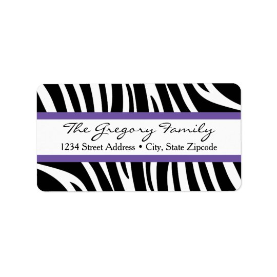 Return Address Labels │ Zebra Print Purple