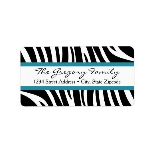 Return Address Labels │ Zebra Print Teal