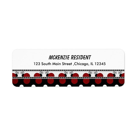 Return Address Lady Bug Return Address Label