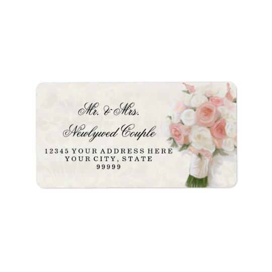 Return Address Large Modern Rose Floral Bridal Label