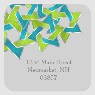 Return Address Lime Turquoise Star of David Square Sticker