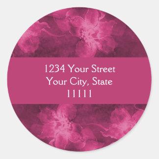 Return Address Magenta Pink Watercolor Flowers Round Sticker
