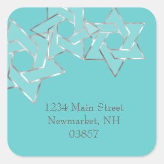 Return Address Metallic Look Star of David Square Sticker