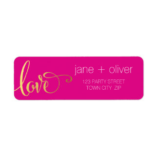 RETURN ADDRESS modern love script type gold pink Return Address Label