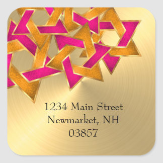 Return Address Pink Orange Star of David Gold Square Sticker