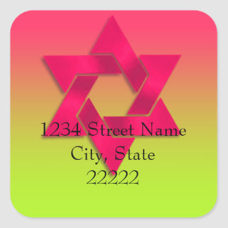 Return Address Pink to Green Ombre with Star Square Sticker