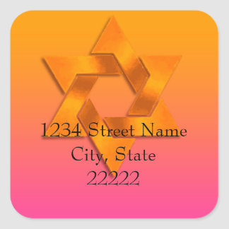 Return Address Pink to Orange Ombre with Star Square Sticker