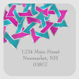 Return Address Pink Turquoise Star of David Square Sticker