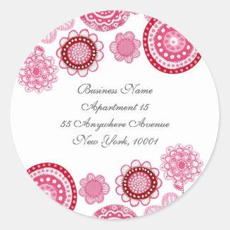 Return Address Pink White Flowers Label Sticker