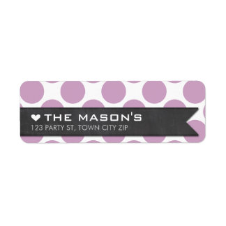 RETURN ADDRESS polka dot purple chalkboard flag Return Address Label