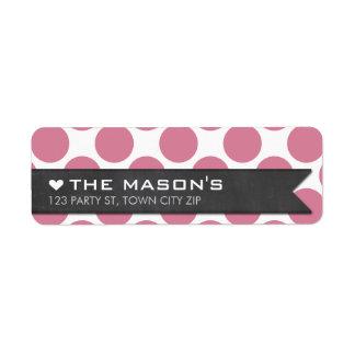 RETURN ADDRESS polka dot rose pink chalkboard flag Return Address Label
