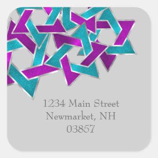 Return Address Purple Turquoise Star David Square Sticker