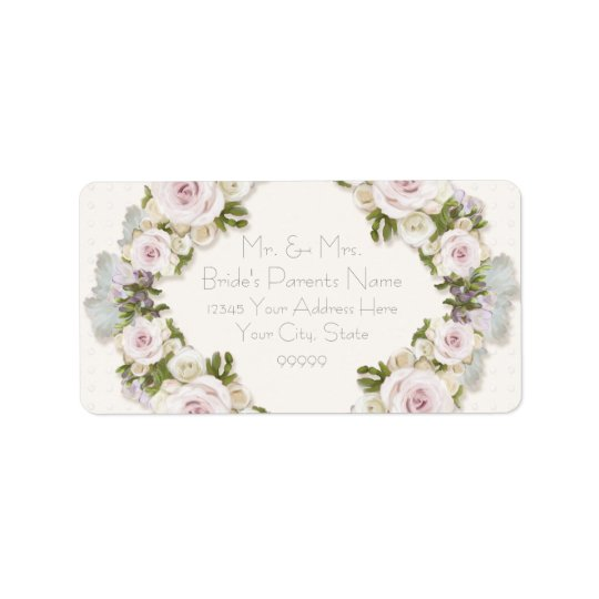 Return Address Romantic Floral Rose Vintage Style Label