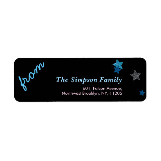Return Address-Silver Blue Star Holiday Collection Return Address Label
