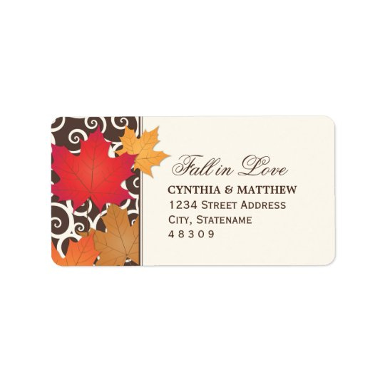 Return Address Sticker | Autumn Fall in Love Theme Address Label
