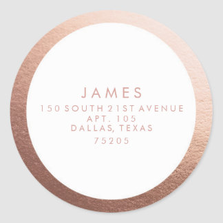 Return Address Sticker | Rose Gold Border