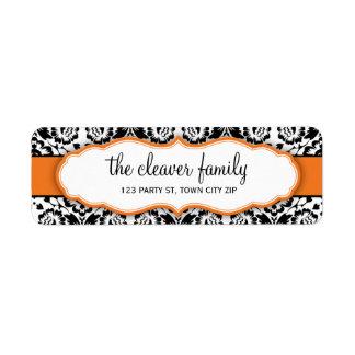RETURN ADDRESS stylish damask black bright orange Return Address Label
