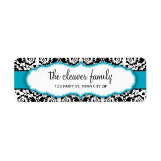 RETURN ADDRESS stylish damask black turquoise blue Return Address Label