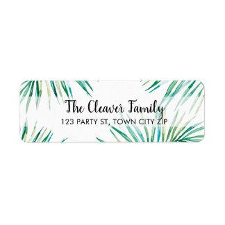 RETURN ADDRESS tropical watercolor palm leaves Return Address Label