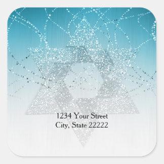 Return Address Turquoise Glittery Star of David Square Sticker