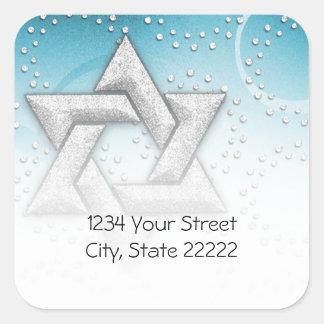Return Address Turquoise Shimmer Star of David Square Sticker