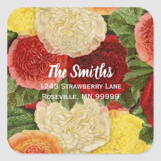 Return Address Vintage Red White Pink Yellow Roses Square Sticker