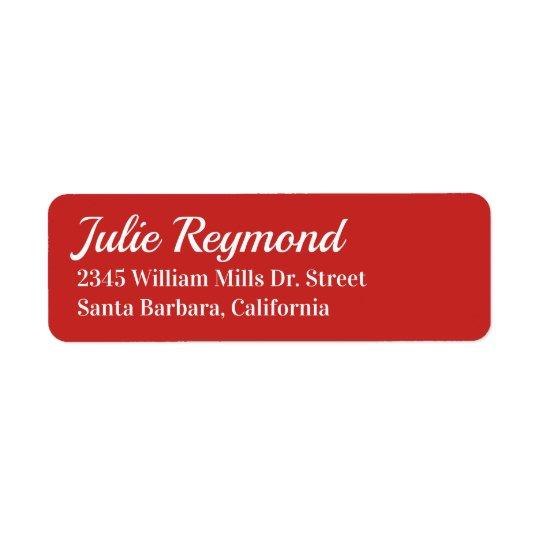 return address vivid red return address label