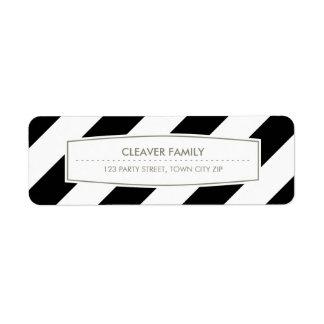 RETURN ADDRESS wide stripe pattern black white Return Address Label