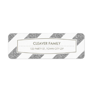 RETURN ADDRESS wide stripe pattern glitter silver Return Address Label