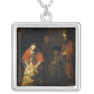 Return of the Prodigal Son by Rembrandt Silver Plated Necklace