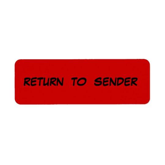 RETURN TO SENDER Avery Label