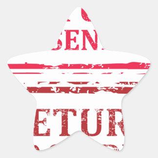 Return To Sender Grunge Stamp Star Sticker