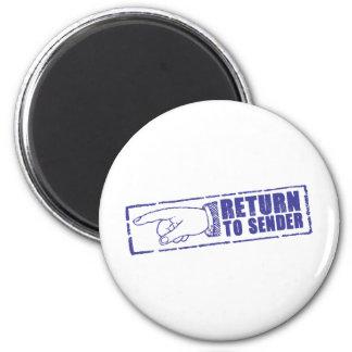 """RETURN TO SENDER"" stamp in blue 6 Cm Round Magnet"