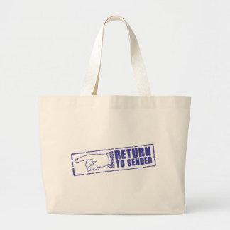 """""""RETURN TO SENDER"""" stamp in blue Tote Bags"""
