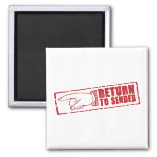 """RETURN TO SENDER"" stamp in red Square Magnet"