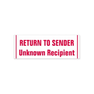 """RETURN TO SENDER"", ""Unknown Recipient"", Lines Self-inking Stamp"