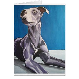 'Reuben Bluedog' - lurcher Greeting Card