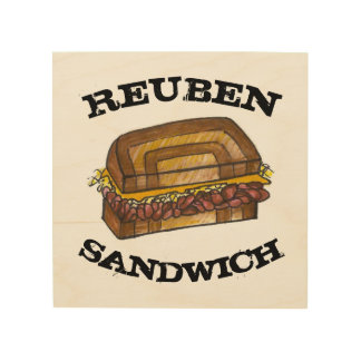 Reuben Sandwich on Rye Jewish Deli Food Cooking Wood Wall Decor