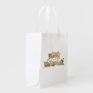 Reusable Bag Gold White Merry Christmas Typography