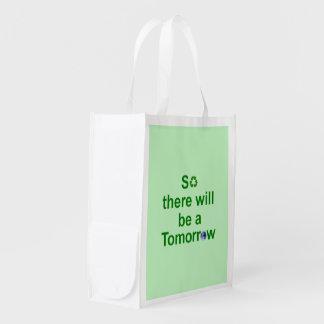 Reusable Bag  Light Green With Text