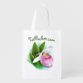 Reusable Bag - Pink Lady Slipper Baby