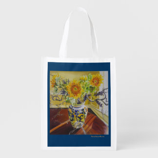reusable bag with sunflowers in Italian vase