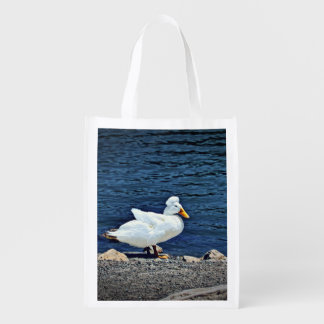 Reusable, fold up bag with white duck