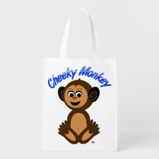 "Reusable Grocery Bag, Graphic ""CHEEKY MONKEY"""