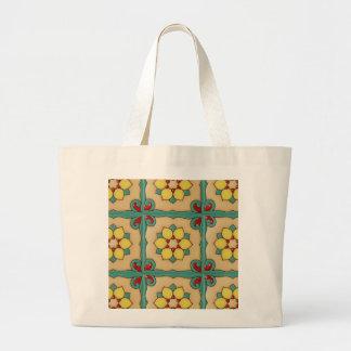 Reusable grocery shopping bag with talavera tiles