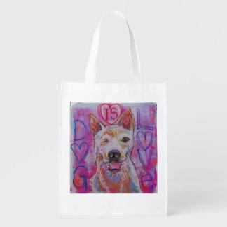 Reusable shopping bag with dog design