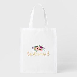 Reusable Tote - Floral bridesmaid Market Tote