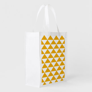 Reusable triangles mustard folding shopping bag